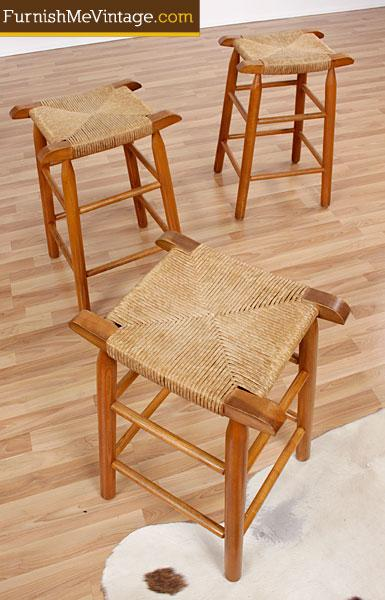 set of 3 rope seat counter height stools. Black Bedroom Furniture Sets. Home Design Ideas