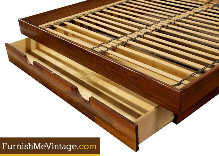 Vintage Belgian Rosewood King Size Platform Bed