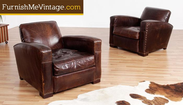 & Pair of Pre-Owned Restoration Hardware Leather Club Chairs