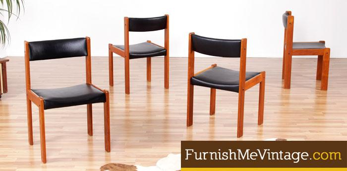 Set of Four Restored Vintage Farso Teak Dining Chairs