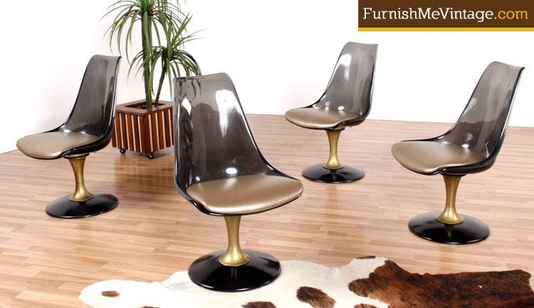 set of four chromcraft smoked lucite dining chairs