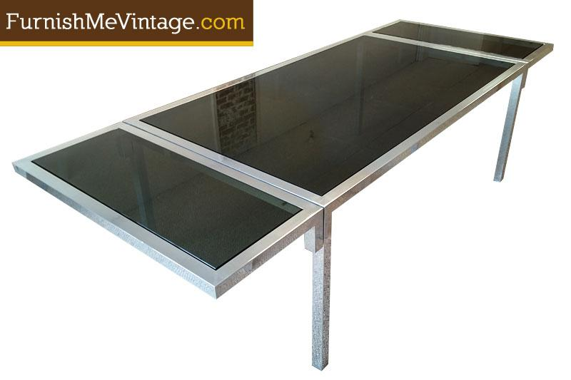 Vintage Aluminium And Smoked Glass Dining Table