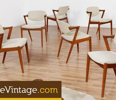 Set of (6) Vintage Kai Kristiansen #49 Danish Teak Dining Chairs
