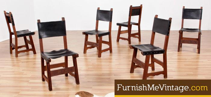 Swell Set Of 6 Vintage Leather Sling Dining Chairs Cjindustries Chair Design For Home Cjindustriesco