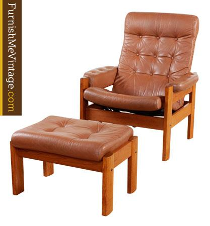 vintage ekornes leather and teak recliner with ottoman