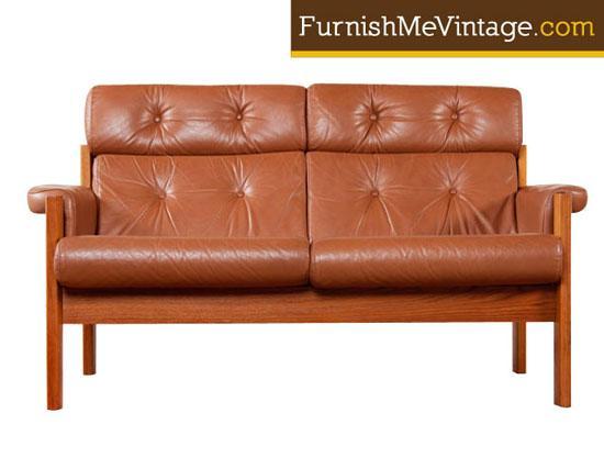 Vintage Ekornes Leather And Teak Loveseat