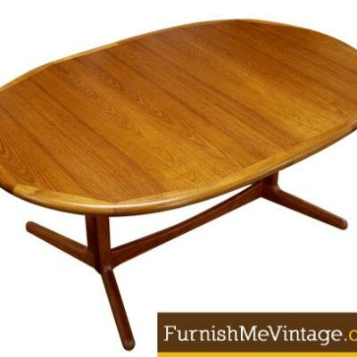 Refinished Danish Teak Oval Dining Table