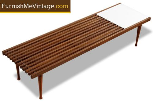 bench blonde slat george nelson image wood