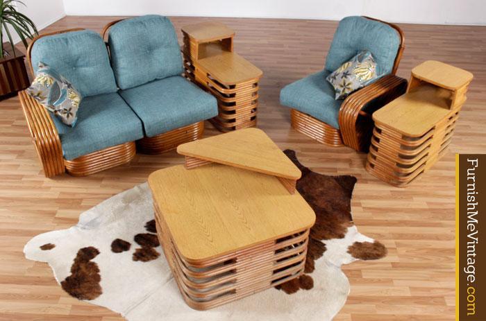 Restored Vintage Paul Frankl Rattan Sofa