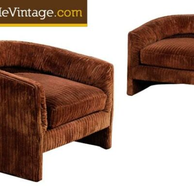 Pair of Original Vintage Corduroy Velvet Barrel Chairs
