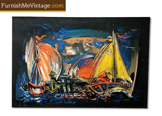 Mid Century Original Nautical Painting by Katz