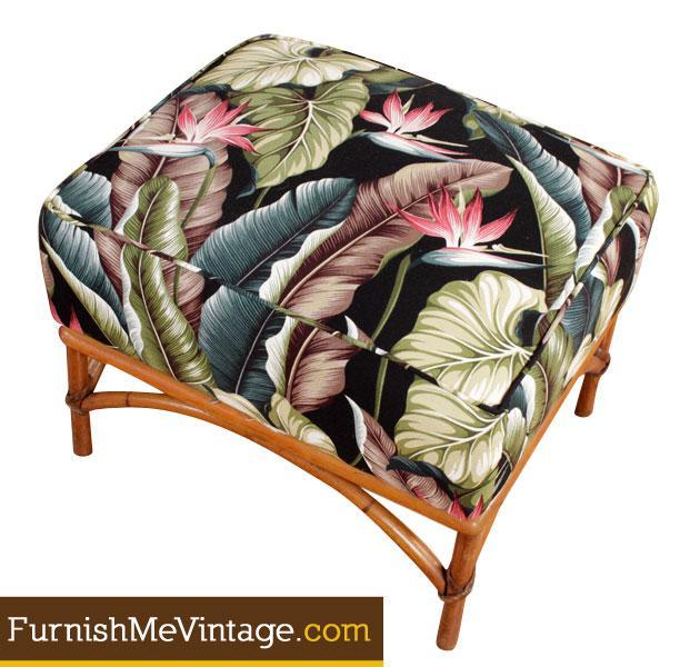 Vintage Heywood Wakefield Rattan Chair And Ottoman