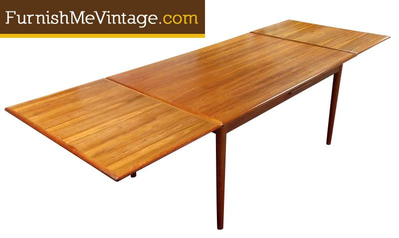 Refinished Vintage Danish Teak Draw Leaf Table