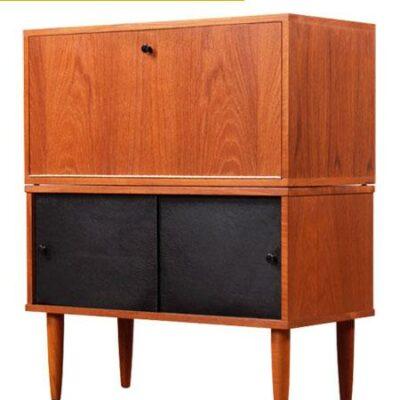 Mid Century Modern 2-Piece Teak Modular Cabinet