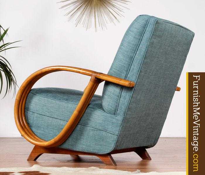 Restored Mid Century Modern Rattan Rocking Chair