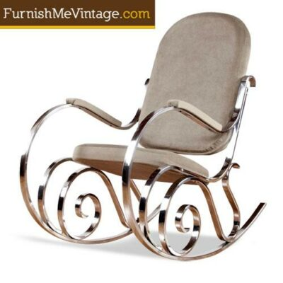 Maison Jansen Chrome Rocking Chair - Hollywood Regency