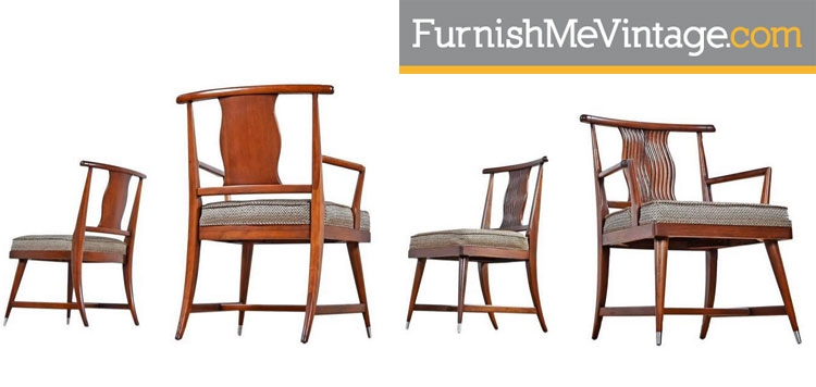Robsjohn-Gibbings Style Restored Eastern Influence Dining Chairs