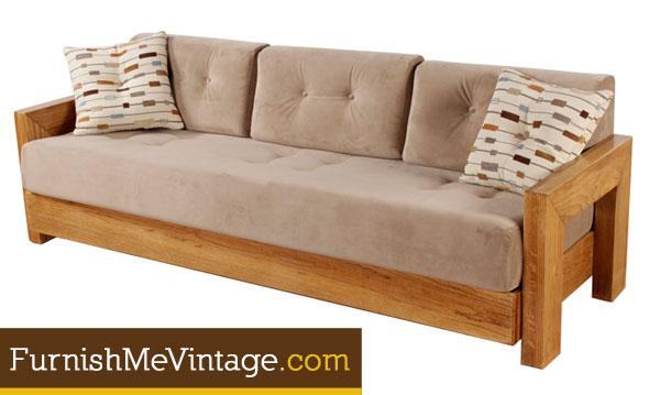Restored Vintage Modernist Oak Sofa
