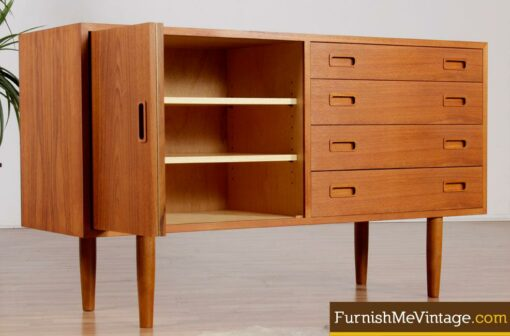 Restored Teak Poul Hundevad Folding Door Credenza