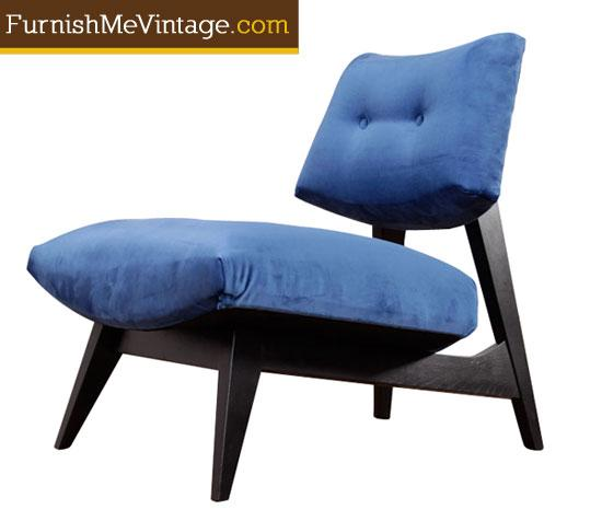 Jens Risom Style Blue Velvet Slipper Chair