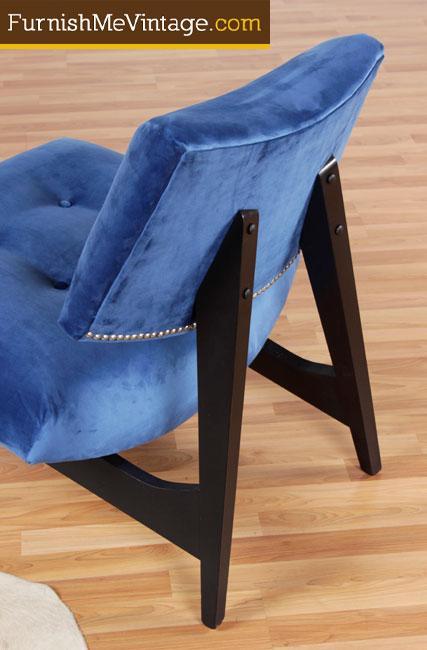 Jens Risom Style Blue Velvet Slipper Chair