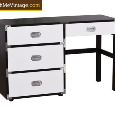 Restored Vintage Black and White Campaign Desk
