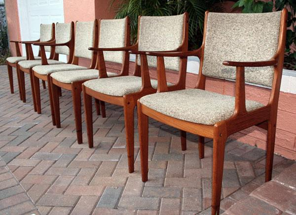 6 Scandinavian Woodworks Teak Dining Chairs