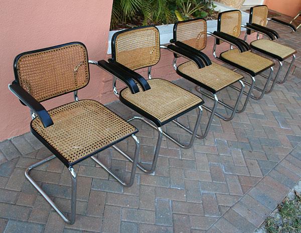 5 Vintage Original Marcel Breuer Cesca Arm Chairs By Stendig