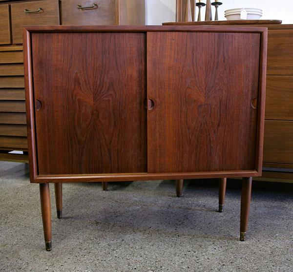 Mid Century Modern Danish Teak Cabinet With Sliding Doors