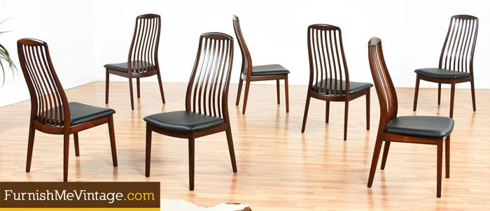 Set of 7 Modern Ergonomic Rosewood Dining Chairs