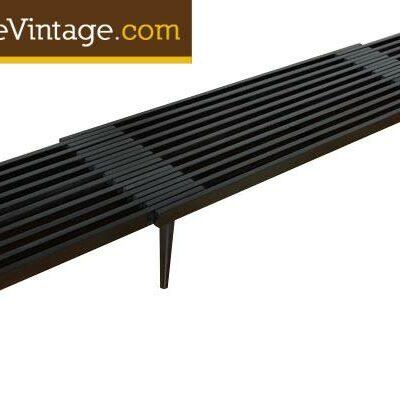 Expanding Mid Century Modern John Keal Slat Bench
