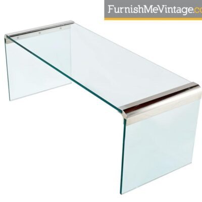 Pace Collection Chrome and Glass Waterfall Coffee Table by Leon Rosen