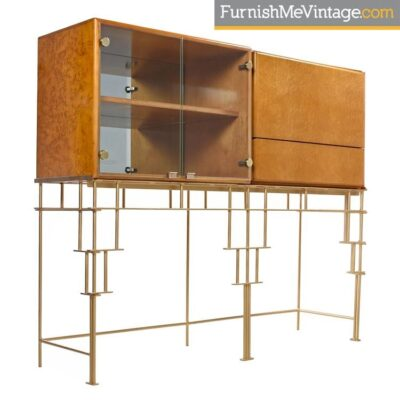 maple cabinets,milo baughman,hollywood regency,bar,thayer coggin,custom made