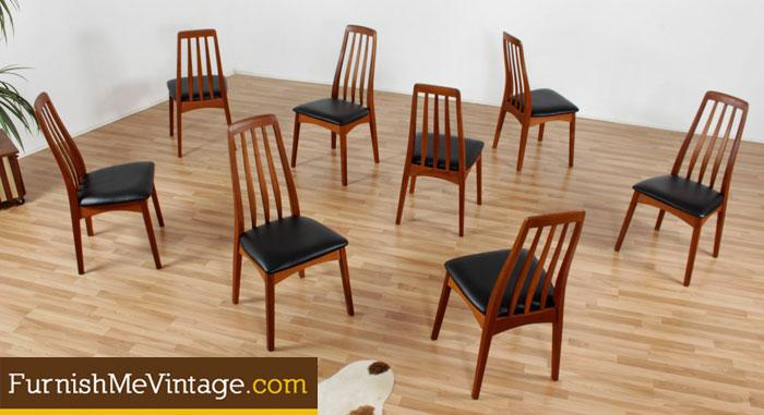 Set Of 8 Mid Century Modern Danish Teak Dining Chairs In New Upholstery