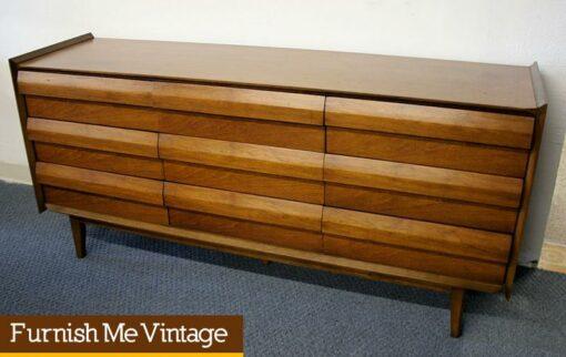 Vintage Lane Louvered Triple Dresser Mid Century Modern