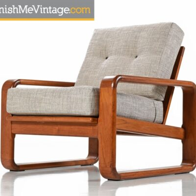 Vintage Solid Teak Gray Arm Chair