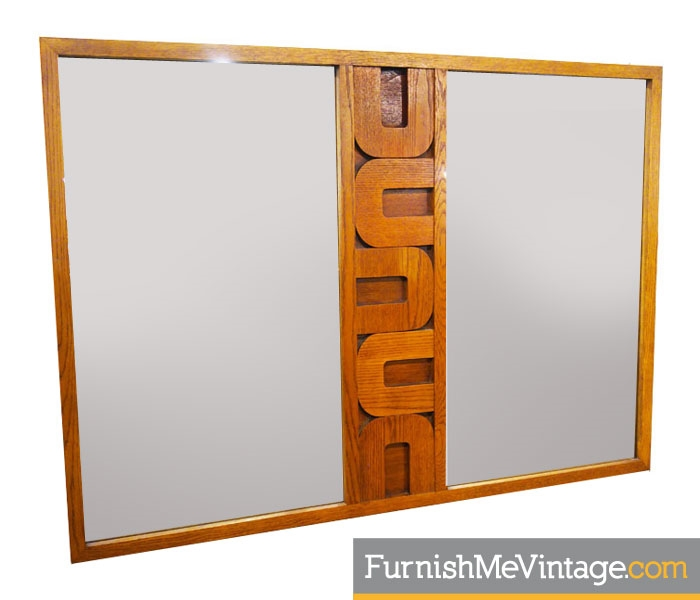 Vintage Lane Brutalist 1970s Mirror