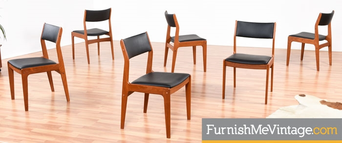 Set of Six Restored Vintage Teak Dining Chairs By Dixie