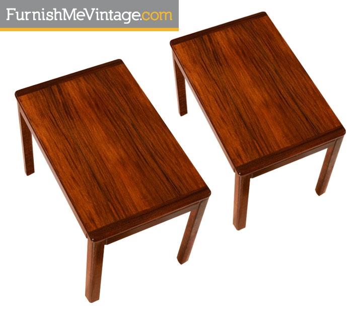 Wonderful Pair Of Vintage Norwegian Rosewood End Tables