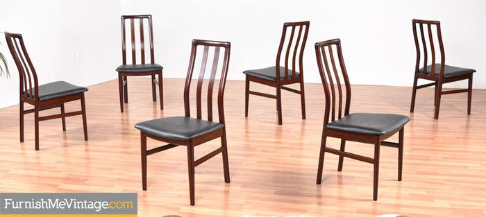 Set of Six Restored Vintage Scandinavian Rosewood Dining Chairs
