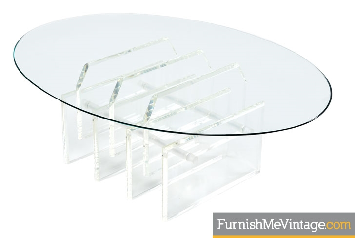 Oval Staggered Lucite Coffee Table