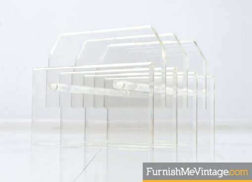 Charles Hollis Jones Oval Staggered Lucite Coffee Table