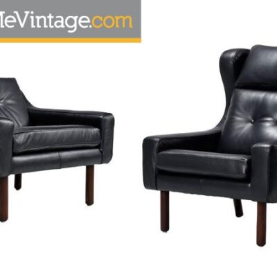 Borge Mogensen Style Black Leather Chairs
