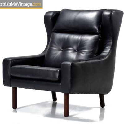 borge mogensen,black leather,lounge chairs,mid-century modern,