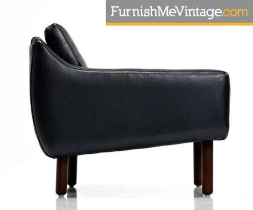 borge mogensen,black leather,lounge chairs,mid-century modern,