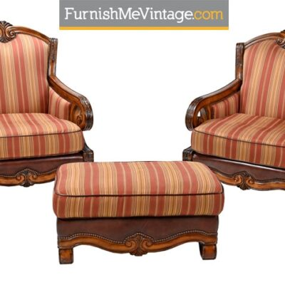 Michael Amini Tuscano Chairs and Ottoman