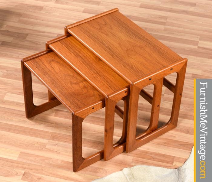Set Of Three Vintage Salin Nyborg Teak Nesting Tables