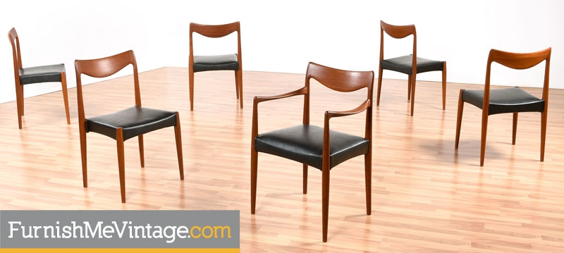 Set of 6 Mid Century Modern Gustav Bahus Bambi Dining Chairs