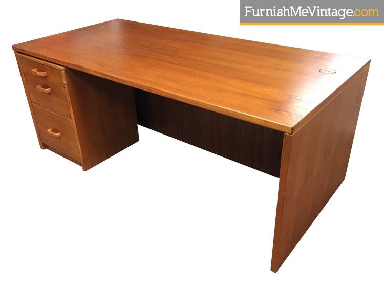Large Vintage Teak Executive Desk With Filing Cabinet
