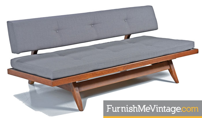 Red Convertible Mid Century Modern Daybed Sofa